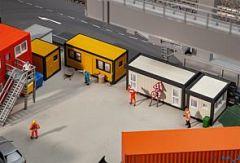 4 Baucontainer gelb-schwarz / grau-schwarz