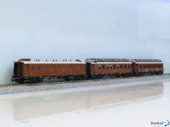 3-teiliges Set CIWL F4 Gepäckwagen Schlafwagen Speisewagen