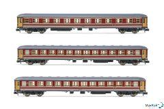 3-teiliges Set FS Personenwagen UIC-X A & 2x B rosso fegato Epoche IV