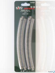 20-140 Gebogenes Gleis R381 30° 4 Stück