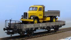 Rungenwagen Km beladen mit Saurer LKW Stuag