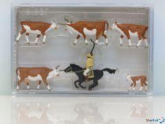 Langhornrinder mit Cowboy zu Pferd