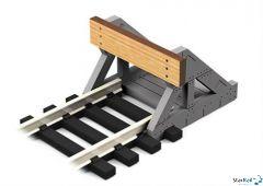 Prellbock Lasercut mit Holzbohlen 2 Stück