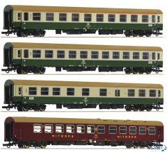 """4-teiliges Set 2: Reisezugwagen D 375 """"Vindobona"""" DR"""