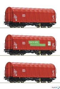 3-teiliges Set: Schiebeplanenwagen DB AG