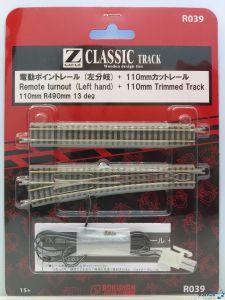 Weiche links 110 mm R490 und angeschnittenes Gleis 110 mm