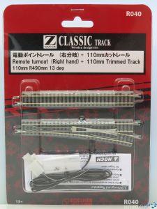 Weiche rechts 110 mm R490 und angeschnittenes Gleis 110 mm