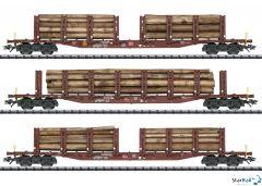 3-teiliges Set Rungenwagen Snps 719 DB AG für Holztransport